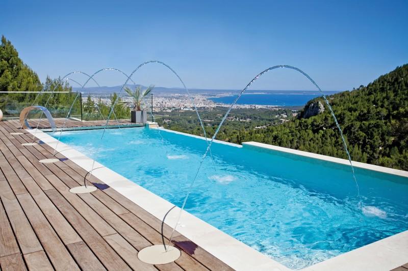 Fuentes y cascadas fuentes de agua piscinas - Fuentes para piscinas ...